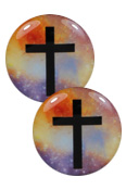 Double Flare Steel Plug with Printed Black Cross and Rainbow Galaxy Front - 2 Pack