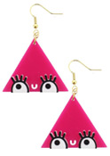 Little Moose Don't Be Square Pink Triangle Drop Earrings