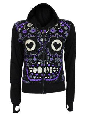 Banned Sugar Skull Ladies Black Hoodie - Buy Online at Grindstore.com