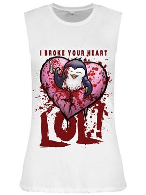 Psycho Penguin I Broke Your Heart Ladies White Sleeveless