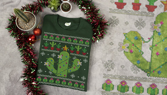 Festive Cacti Men's Christmas Jumper
