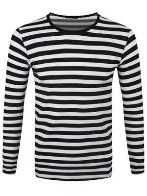 Striped Black and White Long Sleeved T-Shirt - Buy Online at Grindstore.com 1819f5a69c7