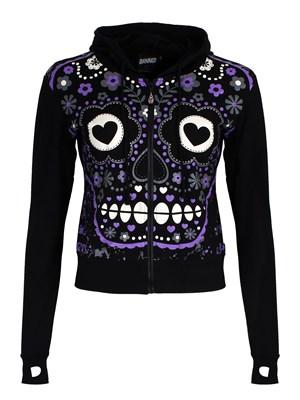 Banned Sugar Skull Ladies Black Hoodie Buy Online At