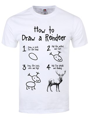 How To Draw A Reindeer Men S White T Shirt Buy Online At
